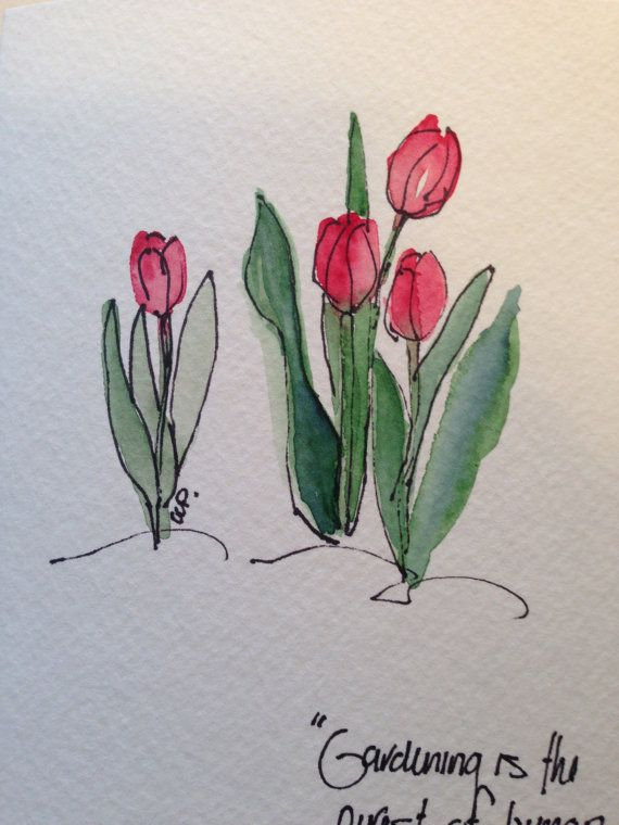 Tulips Watercolor Card by gardenblooms on Etsy, $3.50