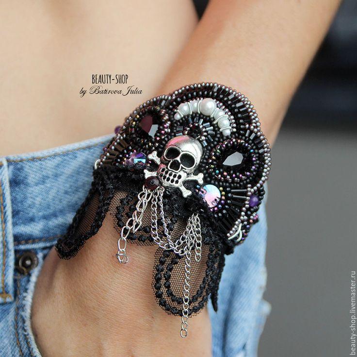 """Купить """"ROCK"""" авторский браслет в стиле панк - черный, браслет, панк, рок-н-ролл"""