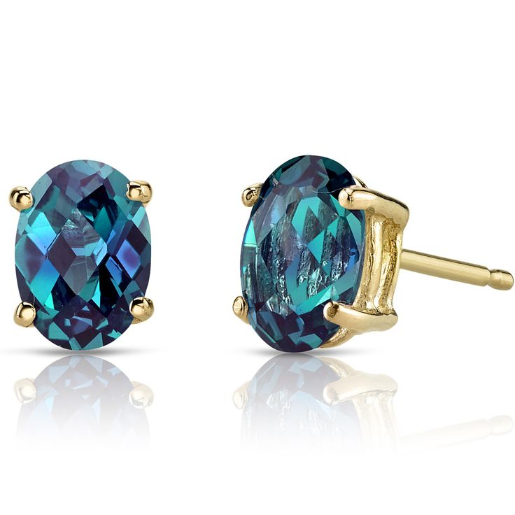 14K Yellow Gold Oval Shape Alexandrite Stud Earrings