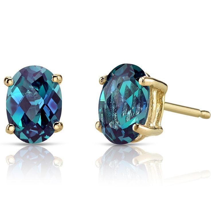 14K Yellow Gold Oval Shape Alexandrite Stud Earrings