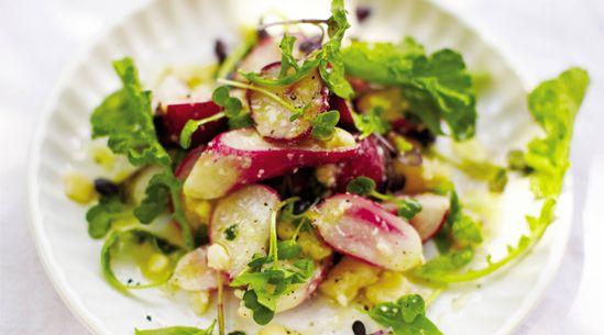 I always forget that radishes are yummy: Handson Radish, April Bloomfield, Fun Recipe, Easy Salad, Blushes Radish, Blushes Beautiful, Arugula Salad, Radish Salad, Crunchy Radish