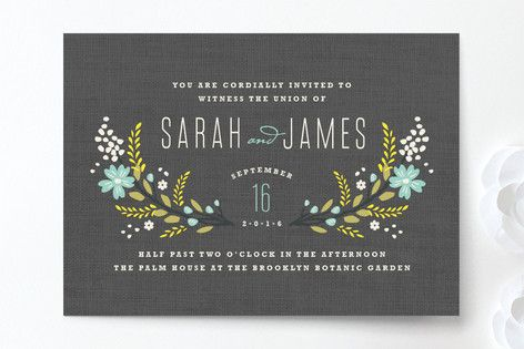 Botanical Blooms Wedding Invitations by Kristie Kern at minted.com  Absolutely loving this one in the yellow and grey. Love the back too. $2.34 w/envelope. $74 for rsvp postcard