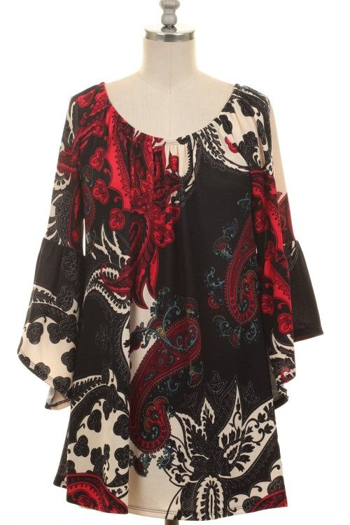 PLUS SIZE BELL SLEEVE PAISLEY PRINT TUNIC TOP