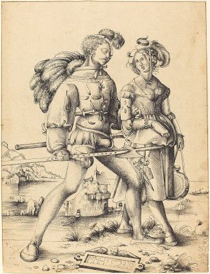 """A Soldier Walking with a Camp Follower"", 1523, Urs Graf I (1485-1527/29) interesting side front lacing on the woman"
