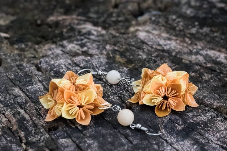 Excited to share the latest addition to my #etsy shop: Origami paper flower earrings. Unique hand folded gift, jewel. Origami paper beige, brown earrings http://etsy.me/2Ee8iRN #jewelry #earrings #beige #floral #brown #yes #women #paper #flowerearrings