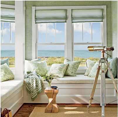 Beach Cottage Decor | Reading nook for master bedroom | Beach Cottage Decor