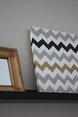 How To: Chevron Painted Canvas. I would make my chevron stripes light grey with a stenciled letter in a bright color on top.