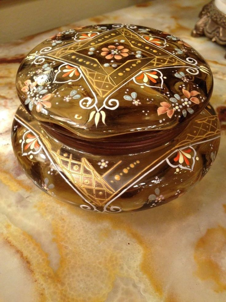 Beautiful Large Antique Hand Painted Glass Hinged Vanity Trinket  Box