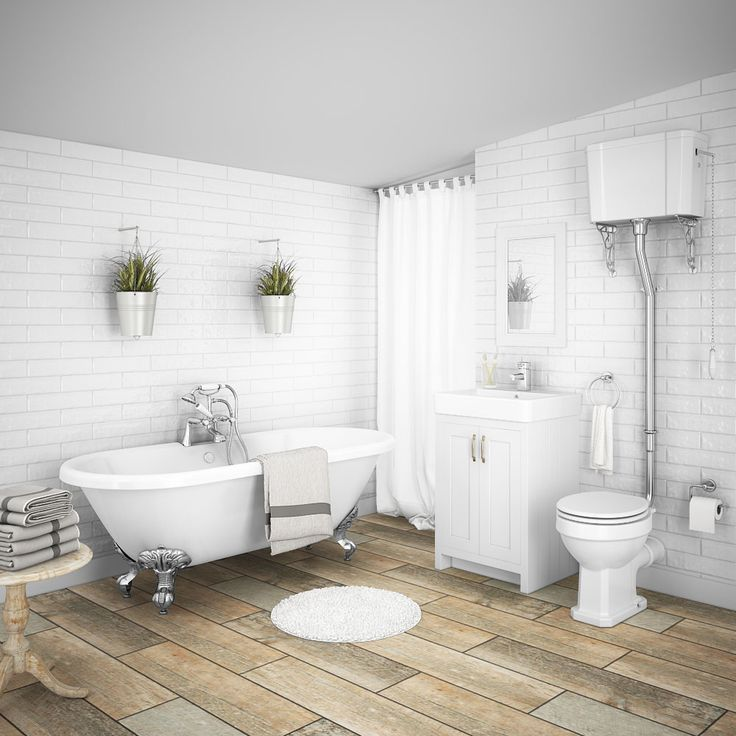 SHOP the Chatsworth High Level White Roll Top Bathroom Suite at Victorian Plumbing UK