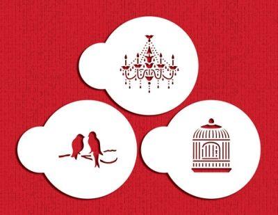 Mini Love Birds and Chandelier Stencil