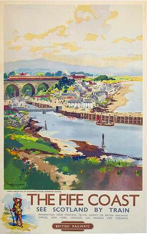 Let's quickly take the train north of the border before the London 2012 Olympics kicks off. Fife has some of Scotland's most beautiful coastline - and what a way to see it! Painted by Frank H. Mason(1876 - 1965) in the 1950s to advertise British Railway's numerous and varied destinations. A couple of stops north and you'll be at St Andrew's University were Prince William and Kate Middleton first met. And we all know how that ended :)