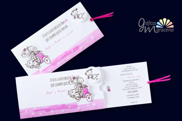 Invitación de boda novios vespa