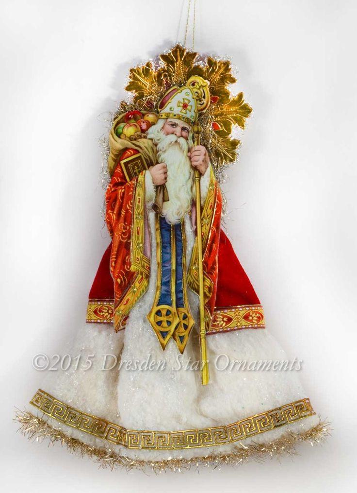 Dresden Star Ornaments - Jeweled St. Nicholas Santa Tree Topper with Cotton Batting Skirt, $495.00 (http://www.victorianornaments.com/jeweled-st-nicholas-santa-tree-topper-with-cotton-batting-skirt/)