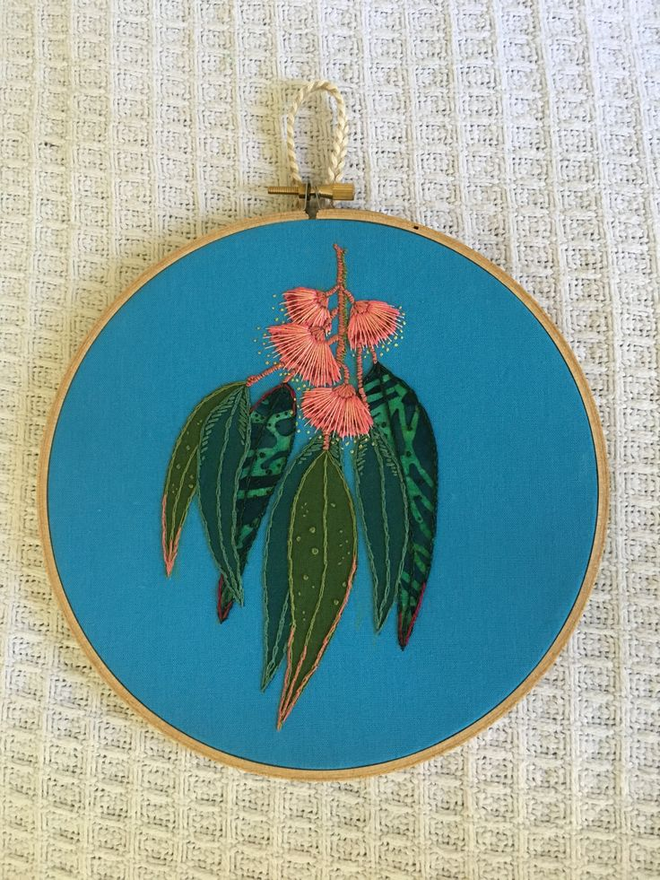 Pink Eucalyptus bloom in applique and embroidery