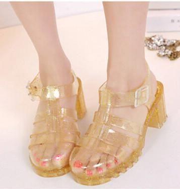Koovan Women Sandals Summer Retro Crystal Thick Transparent Plastic Sandal T-Roman Jelly Shoes