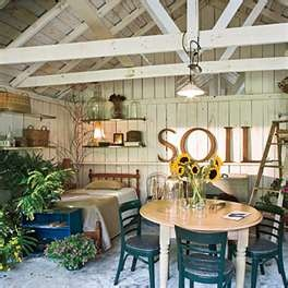 Inside a potting shed (love the SOIL in gold letters!-L)