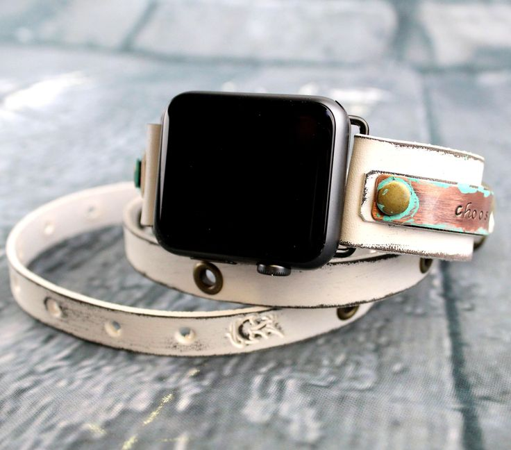 Personalizable Distressed White Apple Watch Strap, Leather apple watch band 38mm women, Leather apple watch band 42mm women, Apple WrapWatch by CuckooNestArtStudio on Etsy https://www.etsy.com/listing/549605340/personalizable-distressed-white-apple