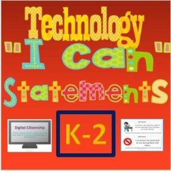 """Technology NETS """"I Can"""" Statements for the Computer Lab: K-2 Set. With this product you get 50 half-sheet posters to help your students learn technology skills and vocabulary. Almost all of these I Can Statements could also be used as a task card that you can customize for your classroom needs! $"""