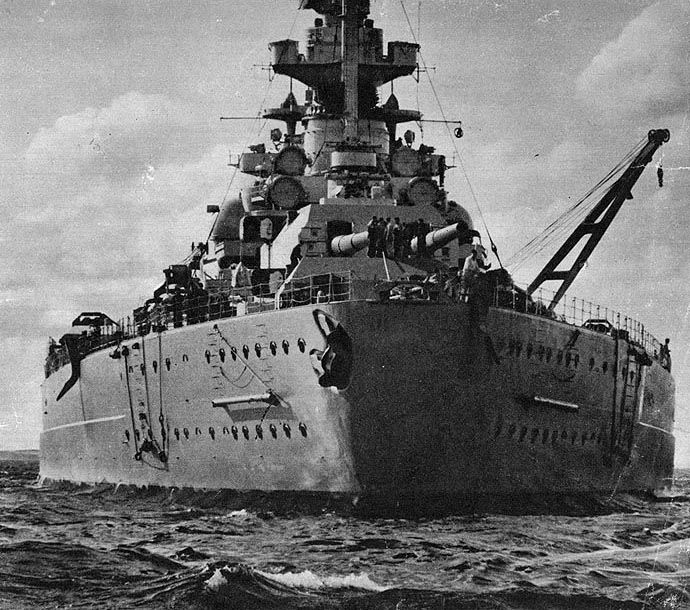 Stern view of the Bismarck, 1940-1941.