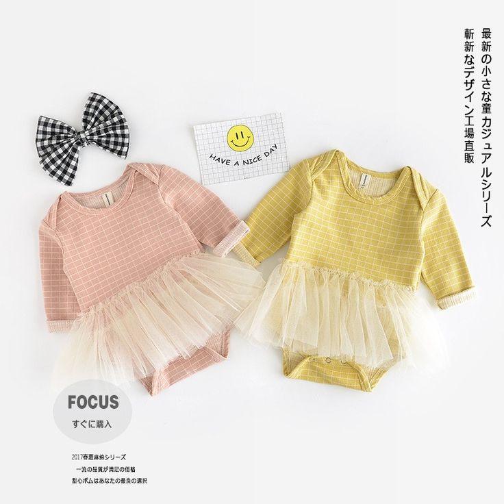 2017 Весна babys хлопка с длинными рукавами плед сетки пряжи комбинезон желтый розовый 0-2 лет-Детские комбинезоны-ID товара::60584041365-russian.alibaba.com