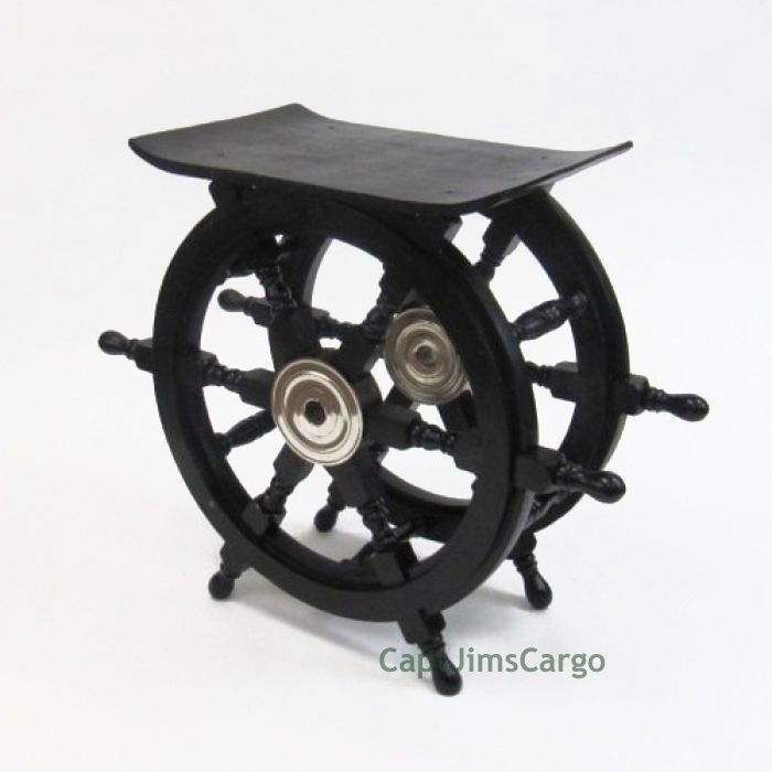 "CaptJimsCargo - Black Ships Steering Wheel End Table 20"" Wooden Nautical Pirate Decor ,  (http://www.captjimscargo.com/nautical-home-decor/ship-steering-wheels/black-ships-steering-wheel-end-table-20-wooden-nautical-pirate-decor/) What a salty addition this nautical ships wheel end table would make to your kid's pirate decor!"