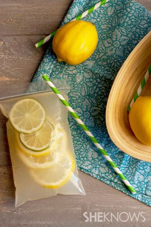 Make a big batch of lemonade, then fill small plastic bags with your concoction. Bonus: Freeze ahead of time so they stay cool in the hot sun.