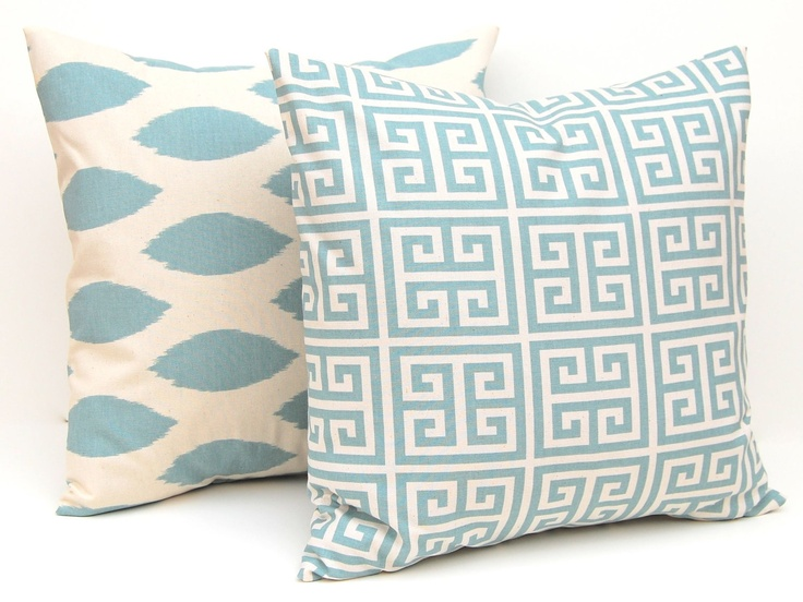 Throw Pillow Covers Blue on Natural Greek Key, Chevron and Ikat Decorative Pillow Covers 16 x 16 ...