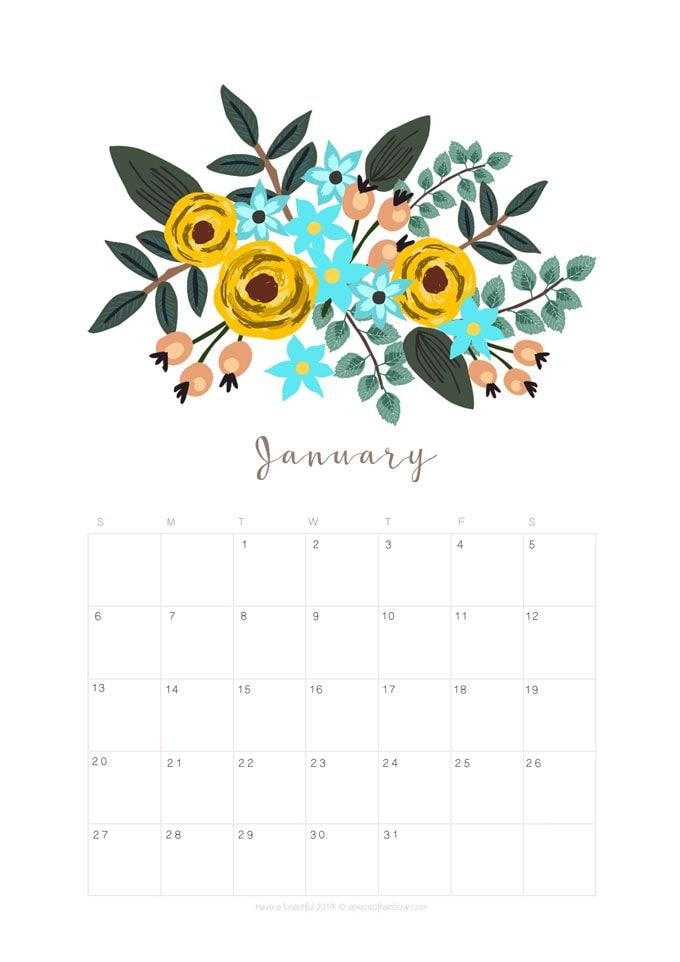 printable january 2019 calendar monthly planner  2 designs