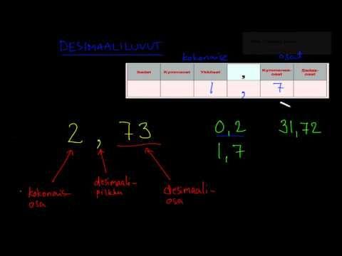 ▶ Desimaalilukujen lukeminen - YouTube (video 3:26).