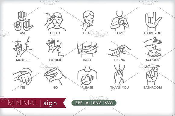 Minimal Sign Icons Sign Language Language Icon Line Icon