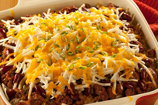 This easy recipe only takes 15 minutes to prep! You can also make this Taco Casserole spicy with shredded hot pepper cheese.