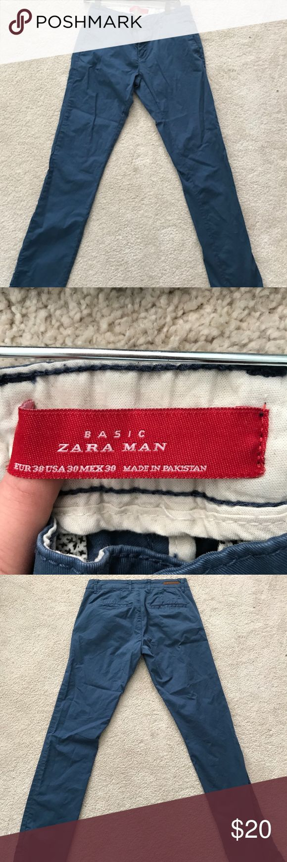 Zara Basic Men's Chino Khaki Pant Zara Man, Men's pant, Blue Khaki material, barely worn, No noticeable wear to the pant, back and front pockets Sizing: EUR 38, USA 30, MEX 30 Zara Pants Chinos & Khakis