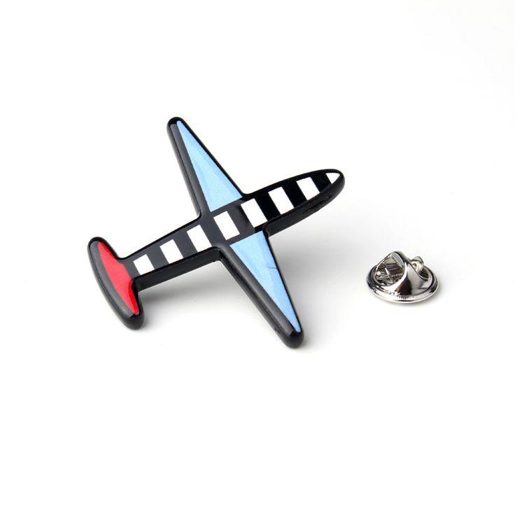 1 개 매력 세련된 총 블랙 옷깃 핀 다채로운 스트라이프 비행기 파티 웨딩 브로치 보석