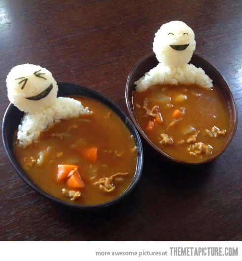 Edible men in curry soup…
