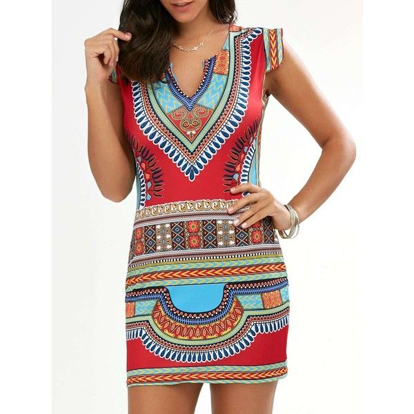 Cap Sleeve Short African Style Print Dress (£9.21) ❤ liked on Polyvore featuring dresses, pattern dress, short length dresses, short dresses, mixed pattern dress and cap sleeve short dress