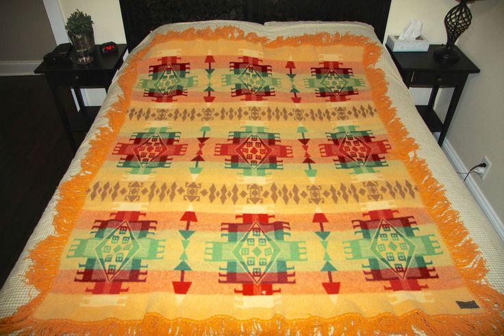 Vintage 1930s Pendleton Cayuse Indian Blanket W Fringe