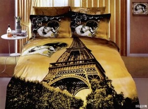 Eiffel Tower Black Gold Paris Duvet Bedding Set Paris