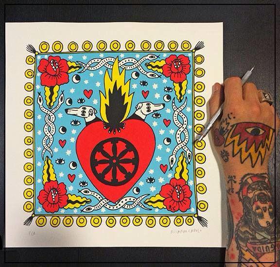 El 'Corazón Gitano' de @ricardocavolo.  120€. Available in www.guntergallery.com #artprint #silkscreen #arthunter #serigrafia #instaart #art #graphicart #serigraphy #printing #streetart #guntergallery #illustration #screenprint #ilustracion #cosasbonitas #gift #artgift #unique #picoftheday #artshop #dyingart #artlovers #illustrator #decoracion #decoration #artejoven #artcollection #collector #illustratori #illustratore