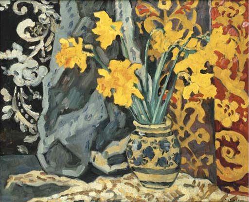 Bouquet de jonquilles devant une tapisserie , by Louis Valtat