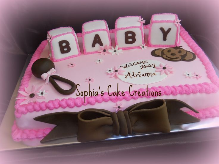 Simple Baby Shower Cake Designs | Sophia's Cake Creations: Pink, Brown and White Baby Shower Cake