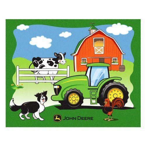 John Deere Heavy Fleece Farm Scene Blanket By John Deere