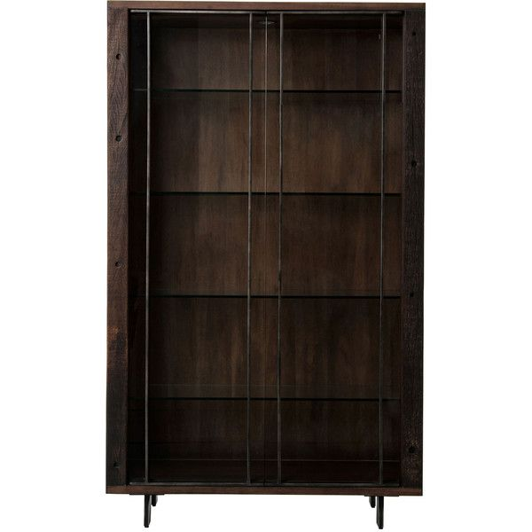 Baylor Modern Classic Tempered Glass Iron Dark Wood Bookcase 4 056 Liked On Polyvore