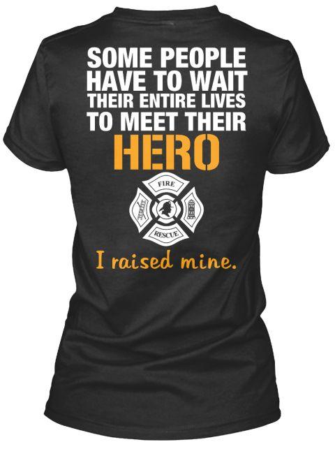 Firefighters Mom Black Women's T-Shirt Back