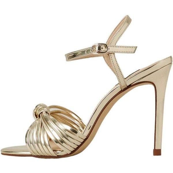 Metallic Ankle-Cuff Sandals (100 AUD) ❤ liked on Polyvore featuring shoes, sandals, metallic high heel sandals, high heel shoes, buckle sandals, high heel sandals and high heel stilettos