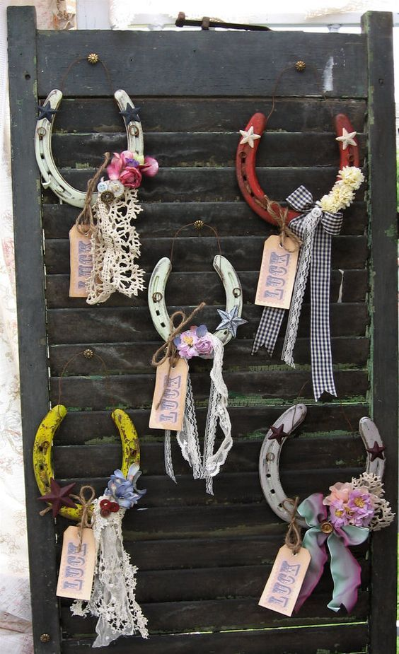 Lucky Horseshoe Rustic Primitive Upcycled Romantic by Fannypippin / http://www.deerpearlflowers.com/rustic-farm-wedding-horseshoe-ideas/