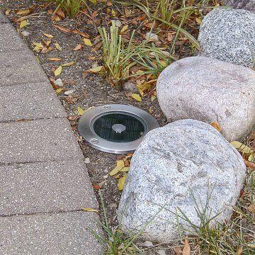 Great idea for uplighting your garden - solar step light