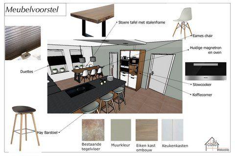 Meubelvoorstel keukenontwerp Su Casa Interieuradvies - Hay barkruk - Eames chair - Slowcooker
