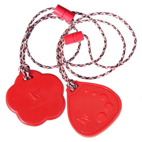 """Need a durable #ChewPendant? Tougher-than-Silicone #ChewNecklaces - #SentioCHEWS Flower & Dot Drop Duo  ♥NINE Colorful Choices of 24"""" Breakaway Lanyards  ♥COOL, School CHEW for #sensory issues Buy online: https://kidcompanions.com/product/red-chewable-necklaces-flower-dot-drop/"""