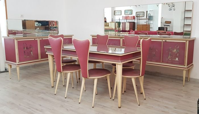 Rare Complete Dining Room Suite From The 1950s Design Umberto Mascagni Consisting Of Unique And