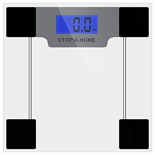 Clear Digital Glass Bathroom Scale with Thick Tempered Glass - Utopia Home (Clear)
